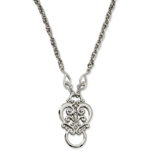 "Fancy Scroll Eyeglass Holder 28/"" Necklace Silver Tone 1928 Boutique"