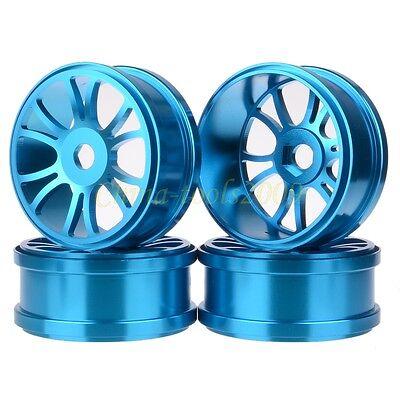 4x RC 1/8 Car Off-Road Buggy Metal 17mm Hub Aluminium Alloy Wheel Rim Blue 84