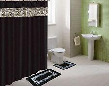 WHITE BLACK ZEBRA  BATHROOM SET W/ SHOWER  CURTAIN  RINGS BATH  MAT COUNTOUR #5