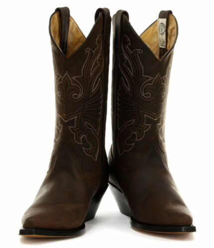 On Handmade uomo Slip Cowboy Buffalo in da Boots Grinders Western pelle Brown YxZvWpq