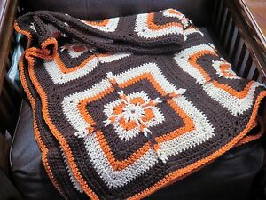 Handmade-Crochet-Blanket-Throw-Afghan-Fall-Autumn-43x56-dk-brown-tan-pumpkin