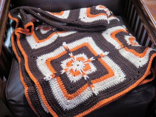 Handmade Crochet Blanket Throw Afghan Fall/Autumn 43x56 - dk brown, tan, pumpkin
