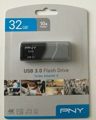 PNY Attache 32GB USB 3.0 Flash Drive sealed free ship P-FD32GTBOP-GE - New