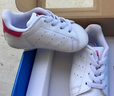 Adidas Originals Stan Smith WhitePINK Baby Infant Shoes Crib Sneakers Size 2K | eBay