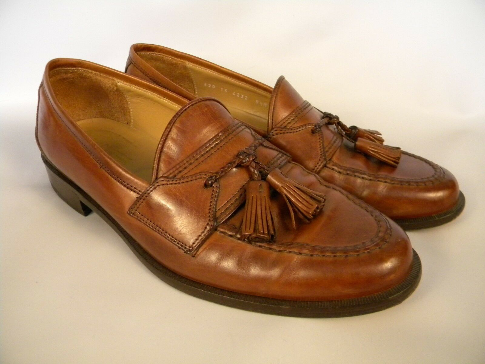 Johnson Murphy Brown Leather Tassel Loafers Hand Made in  Size 8.5 M 69184