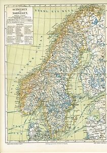 Karte Norwegen Schweden.Details Zu Karte Schweden Und Norwegen 1889 Original Graphik