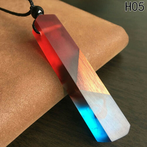 Unisex Wooden Resin Necklace Colorful Wood Resin Chain Resin Wood Pendant Good