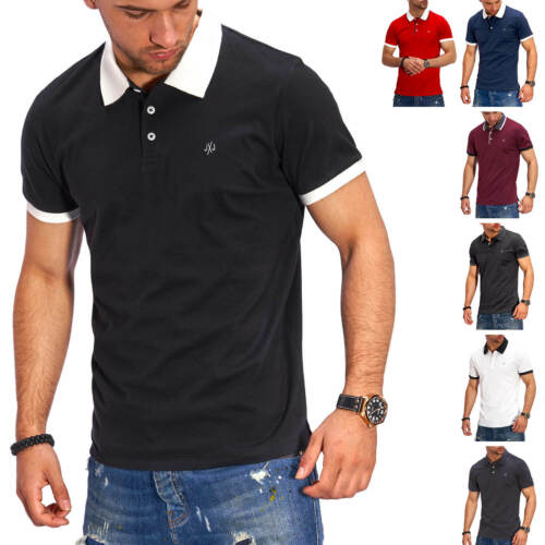 Jack /& Jones Hommes Poloshirt Polo Manches Courtes Shirt fushia Chemise T-shirt Top