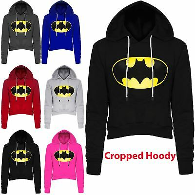 Systematisch Womens Batman Knitted Pullover Jumper Ladies Long Sleeve Crop Top Fleece Hoodies Geschickte Herstellung