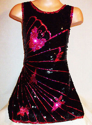 GIRLS 60s STYLE PINK GOLD RED MIX SPARKLING SEQUIN DISCO DANCE PARTY DRESS TOP