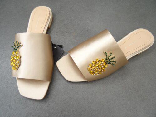 4 Satin Ananas Uk Sandaler Mink Bejeweled Flat Golden Størrelse 37 naken Eu Zara qWX4vtn