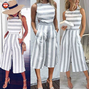 83fbb550f772 Image is loading Women-Sleeveless-Striped-Wide-Leg-Pant-Playsuit-Jumpsuit-