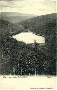 Niedersachsen-Harz-1900-Spiegelthaler-See-Gruss-aus-Postkarte-Spiegeltal-Blick