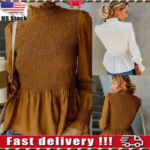 Womens-Ladies-High-Neck-Long-Sleeve-Blouse-Casual-Shirts-Sweatshirt-Tops-Size
