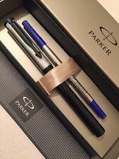 NEW PARKER BETA BLACK & SILVER ROLLERBALL PEN-BLUE INK-GIFT BOX