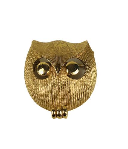 Vintage Signed Crown Trifari Goldtone Owl Brooch M