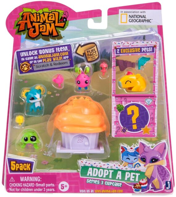 Animal Jam Adopt A Pet Series 3 Cupcake 5 Pack Figure Toy Set Ebay