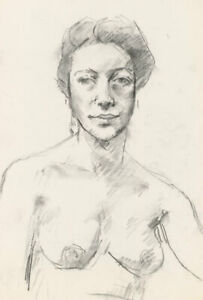Peter Collins ARCA - c.1970s Charcoal Drawing, Nude Portrait