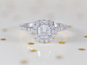 e61791b881ba Image is loading 14k-White-Gold-Cushion-Cut-Center-Stone-Diamond-