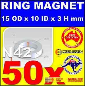 50X Ring Neo Rare Earth Magnets OD15 x ID10 x H3 mm N42