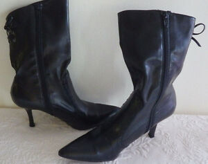 "Womens Shoes 3"" High Heel Black Zip Up Boots Mossimo Size 8 Ginger 13"" Tall"