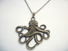 Large Octopus Cthulhu Kraken Pendant Bronze Tone Steam Punk Necklace