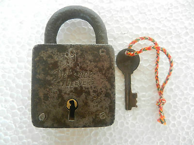 Rare Old Iron Handforged Rectangular Tricky / Puzzle Strip System Pad Lock