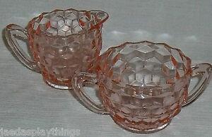American-Fostoria-Creamer-Cream-And-Open-Sugar-Bowl-Set-of-2-Pcs-Pink-Glass
