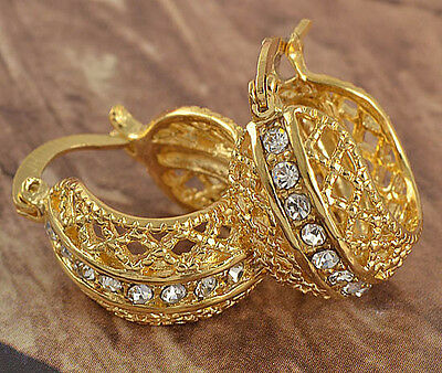 Womens Wedding Clear Rhinestone Yellow Gold Plated Round Fat Lucky Hoop Earrings