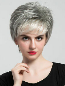 100-Human-Hair-Light-Grey-Short-Straight-Women-039-s-Boy-Cut-Light-Gray-Wigs