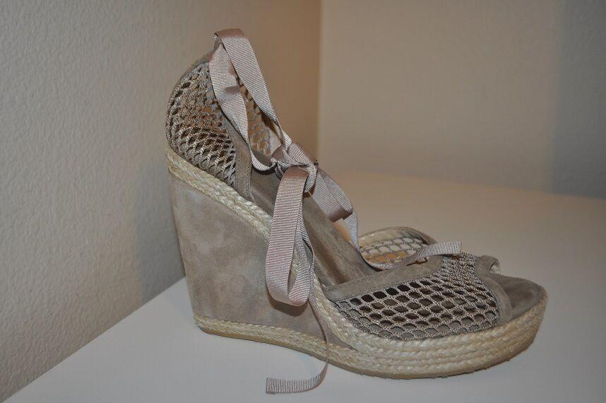 Jimmy Choo Choo Choo Prue Cheville Wrap Espadrille Wedges Chaussures Daim Maille Beige 10 EU 9.5 US aff2b9