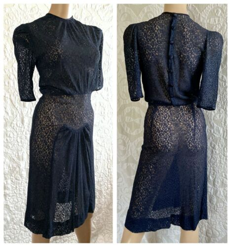 VTG 1930s-1940s Navy Blue Lace Dress | Puff Sleeve