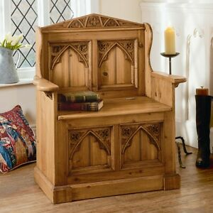 Stupendous Details About Gothic Old Wood Pine Monks Bench Pew Settle Lift Up Lid For Storage Uwap Interior Chair Design Uwaporg