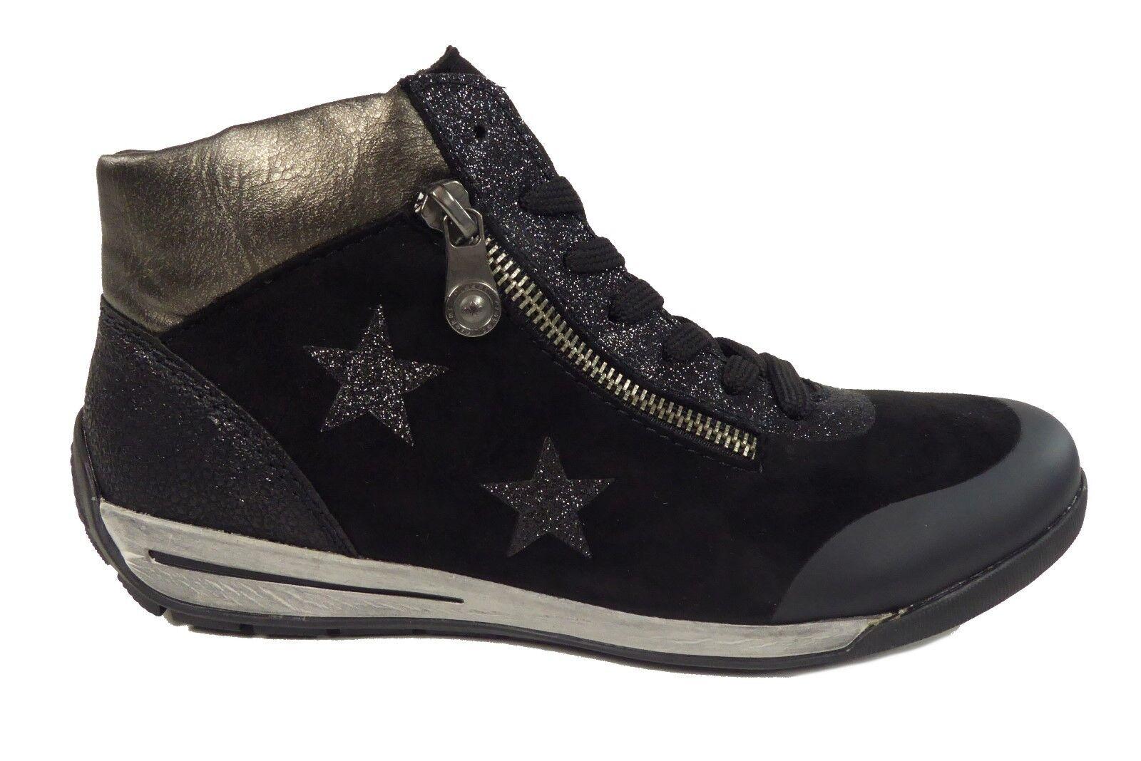 Rieker Damenschuhe Stiefel Schwarz Warmfutter Reißverschluss+Schnürung M3033-01