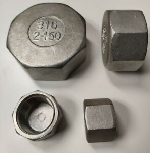 Stainless-Steel-Hex-Pipe-Cap-FIttings-Sch40-CL150-Threaded-NPT-3-8-034-to-2-1-2-034