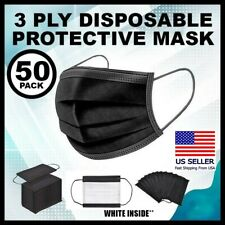 50 Pcs Black Face Mask Disposable 3 Ply Respirator Masks With Filter New In Box