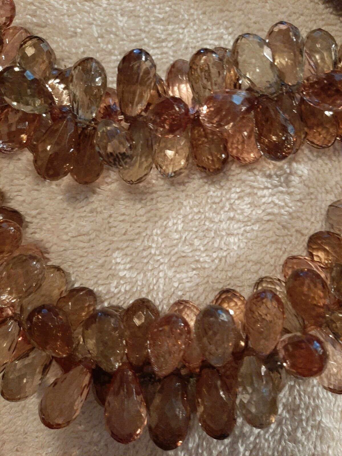 New ANN TAYLOR LOFT 2 Strand Beaded Crystal Cluster Ribbon Necklace Soft Brown