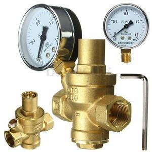 dn15 1 2 39 39 bspp brass water pressure reducing valve with gauge flow adjustable ebay. Black Bedroom Furniture Sets. Home Design Ideas