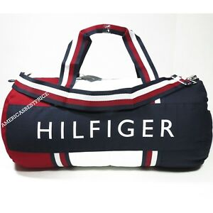TOMMY HILFIGER NEW LARGE DUFFLE BAG GYM BAG NWT BLUE RED WHITE VERY ... e9f2769fd8751