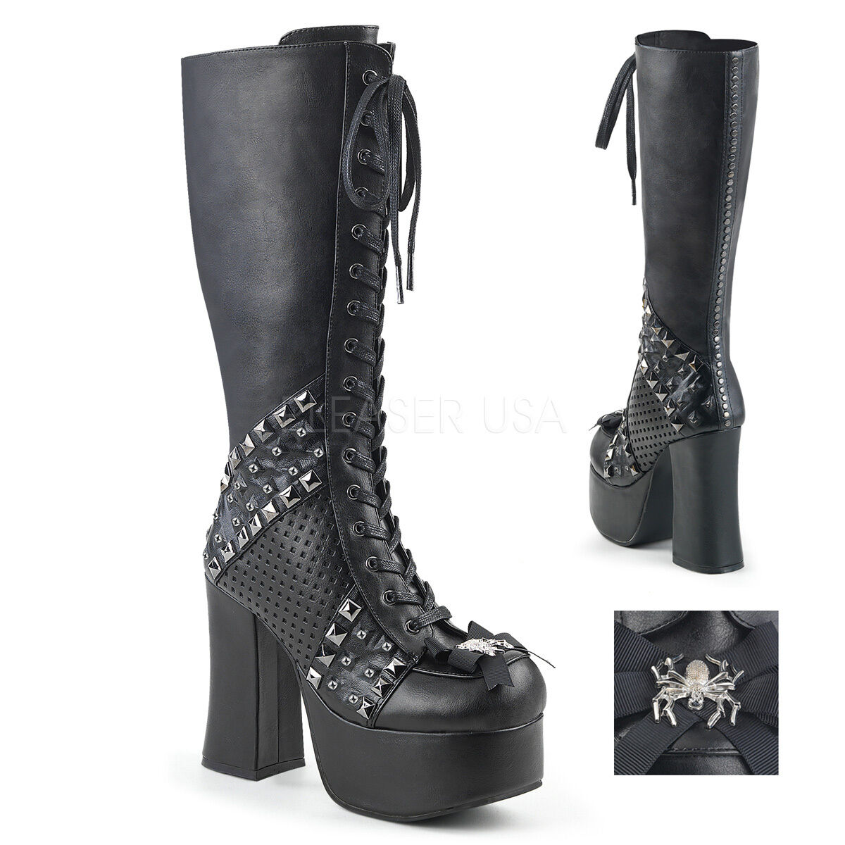 CHARADE-150  BIKER RAVE GOTH PUNK STUDDED STUDDED STUDDED LACE UP CHUNKY PLATFORM KNEE HIGH BOOT ef4123
