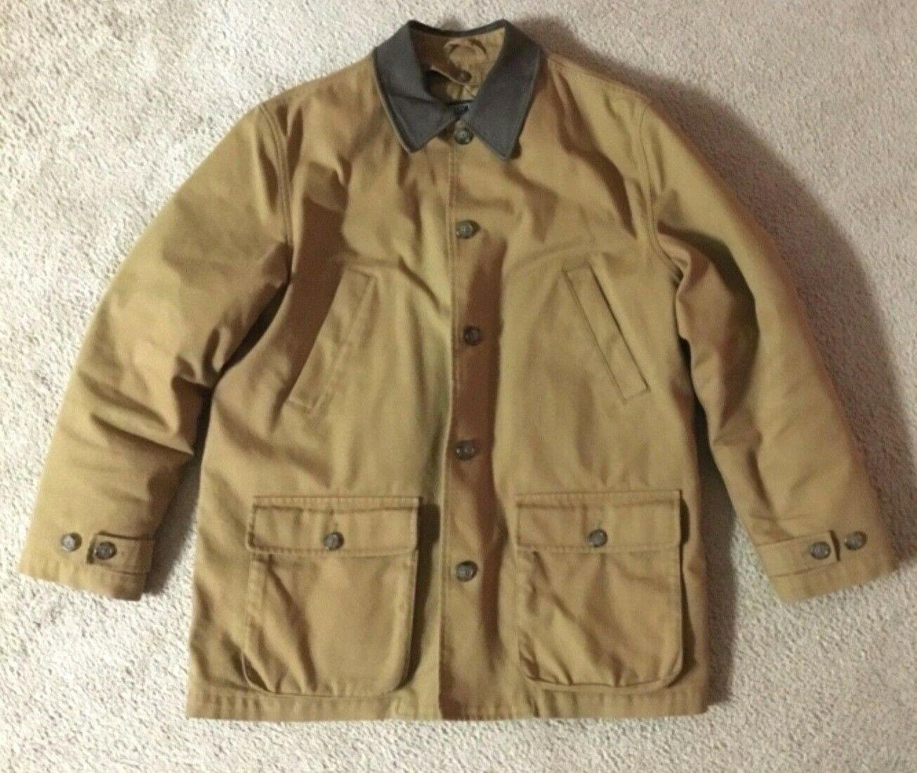Lands' End Brown Barn Coat Suede Collar Quilted Lining Men's Size L 42 44