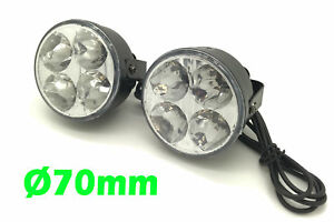 Round-DRL-4-LED-Daytime-Running-Lights-Front-Spot-Fog-For-Ford-Focus-Mondeo