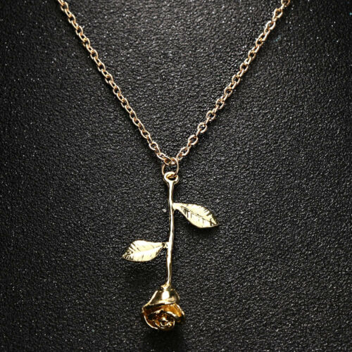 Rose Flower Pendant Charm Womens Beauty Fashion Jewelry Chain Necklace 3 Colors