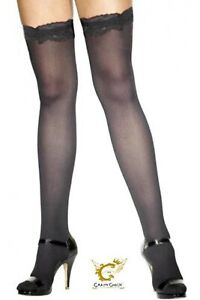 Ladies Thigh High Black Stockings with Lace Top Halloween Fancy Dress Accessory
