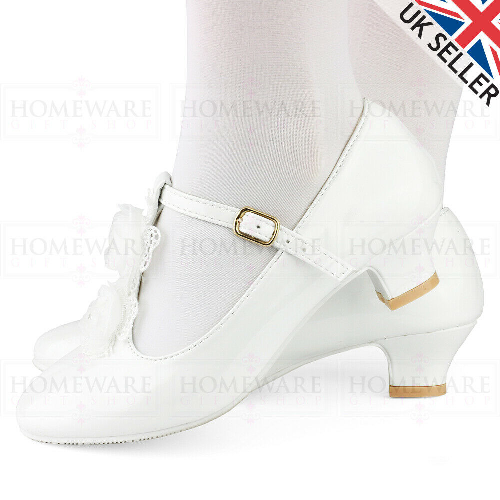 GIRLS COMMUNION SHOES T-BAR PATENT WHITE WEDDING BRIDESMAID FLOWER GIRL UK8-2