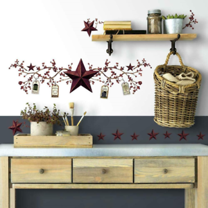 RMK1276SCS RoomMates Country Stars /& Berries Peel and Stick Wall Decals