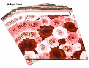 25 RED & PINK ROSES DESIGNER 10X13 MAILER POLY BAGS MAI