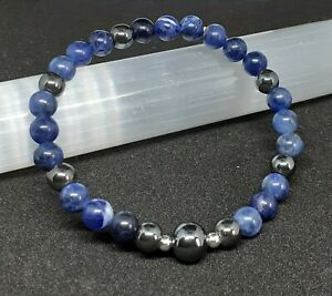 Blue Sodalite Throat 3rd Eye Chakra Bracelet. Crystal Reiki Gemstone Healing