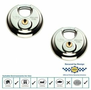 2-X-PACK-KEYED-ALIKE-EUROSPEC-70MM-STAINLESS-STEEL-DISC-PADLOCKS-NEW