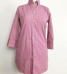 Women-039-s-Ralph-Lauren-Button-Down-Shirt-Pink-Stripe-size-6-3-4-Sleeves
